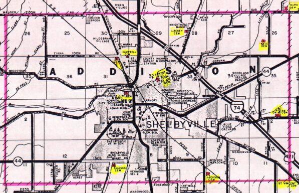 Shelby County Indiana History & Genealogy, Addison Twp Map